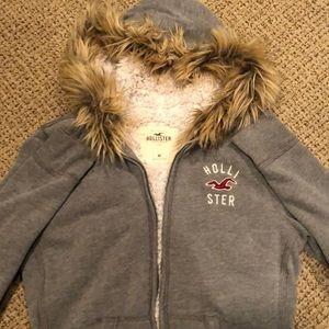 Hollister Sherpa lined fur hooded zip up hoodie